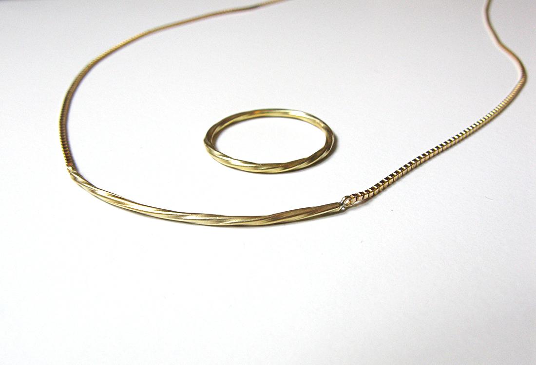 Kette+Ring Gold, Kollektion Twist