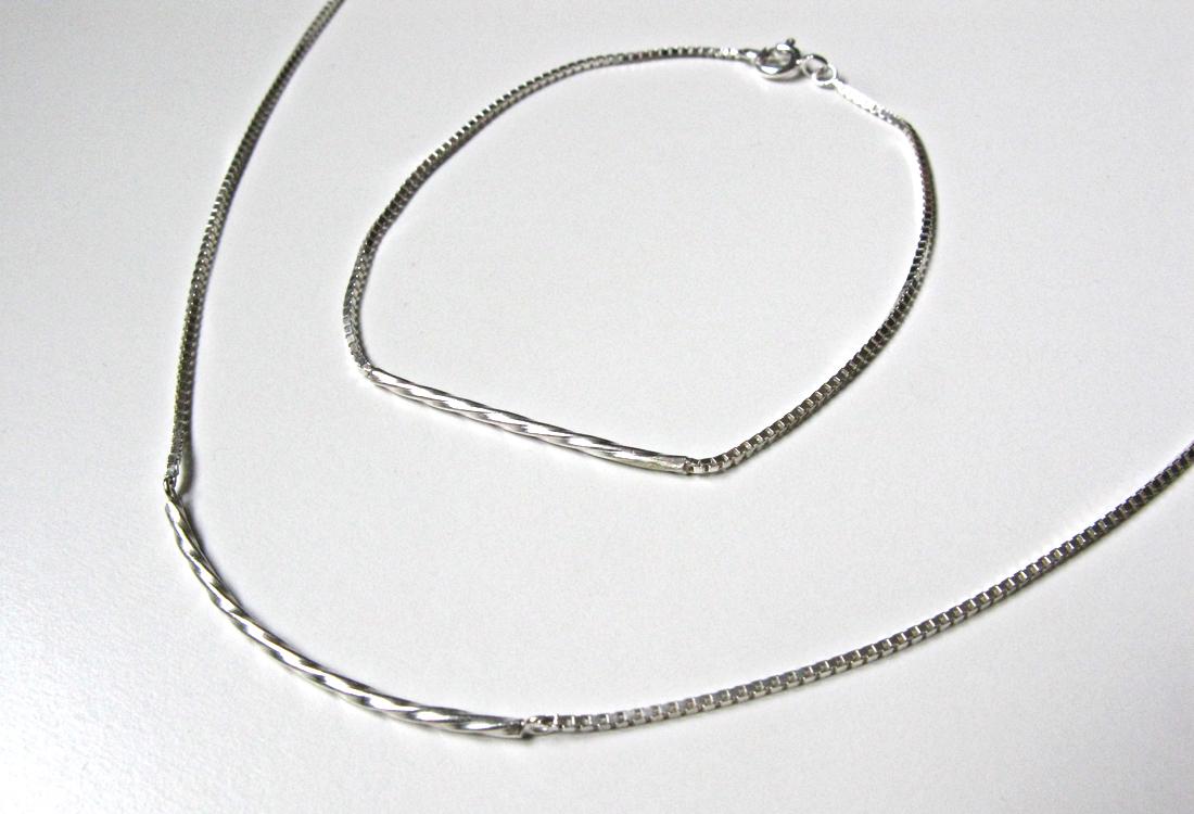 Twist Armband und Kette Silber