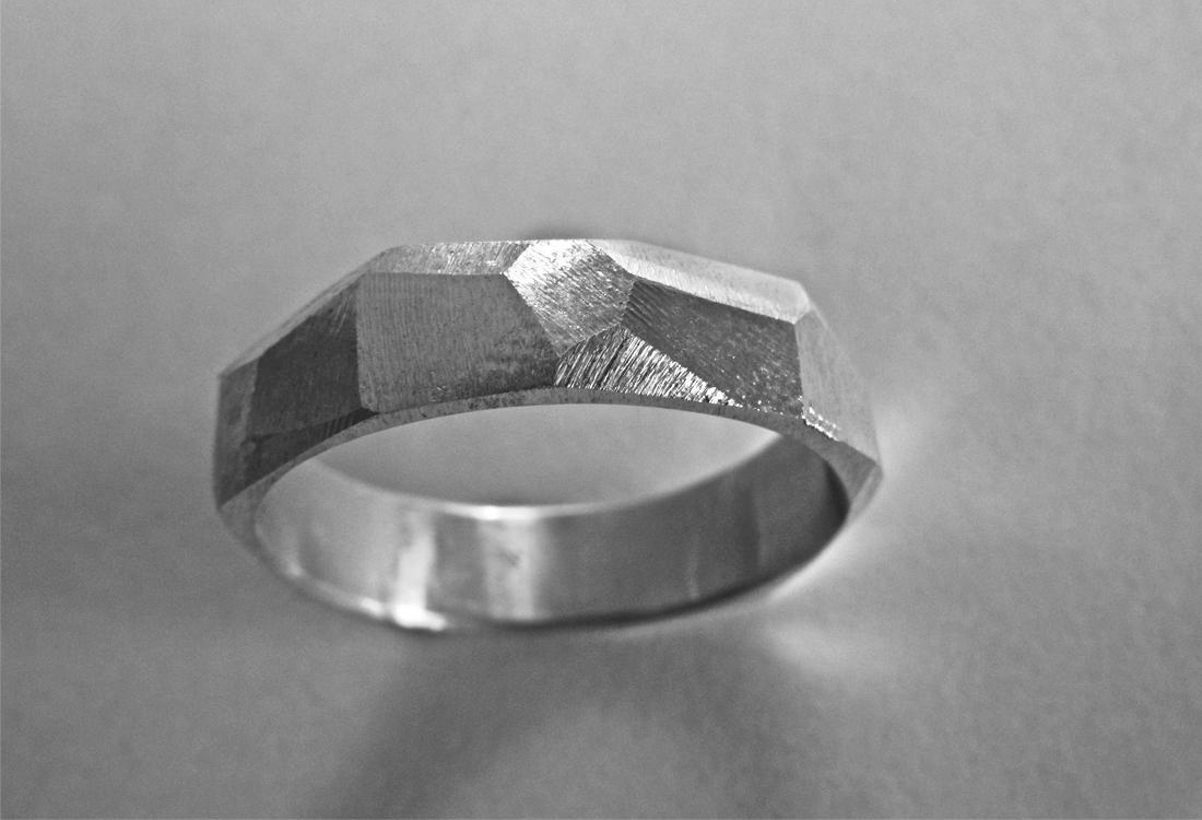 Facetten Ring Silber