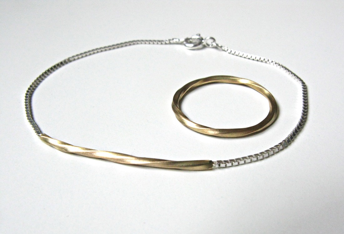 Armband und Ring Twist Rosegold+Silber