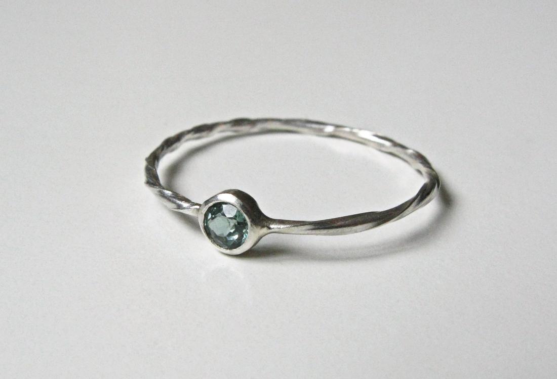 Ring Twist Turmaline silber blau